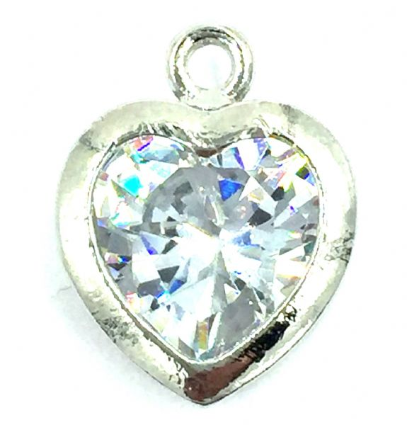Crystal charm / pendant - Caged crystal heart 12mm - rhodium
